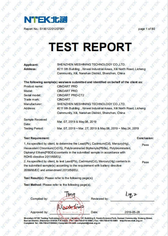 CINOART coffee printer ROHS Test Report photo